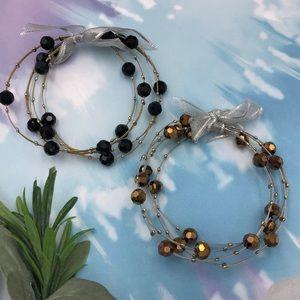 🌼3/$30🌼Beaded Illusion Wire Set Bangle Bracelets